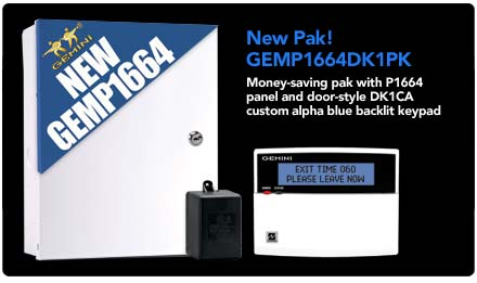 New money saving pak! GEMP1664DK1PK, with new door style keypad and new Gemp1664 panel